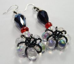 Black Crystal and Red Dangle Earrings by AndrassidyDesigns on Etsy