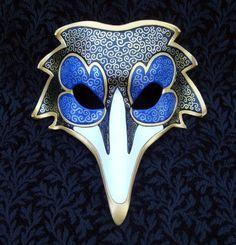 Blue Venetian Raven Mask by merimask