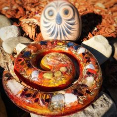 Using this orgone plate to charge up the garden with good vibes.