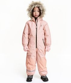 Padded all-in-one suit in wind- and waterproof, breathable functional fabric with a detachable lined hood with faux fur trim, zip and wind flap with hook an Winter Outfits, Kids Outfits, Baby Snowsuit, H&m Online, Snow Suit, Powder Pink, Black Dots, Kids Girls, Canada Goose Jackets
