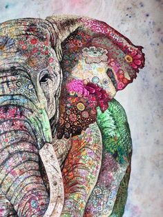 There is so much beauty and detail in this painting! Image Elephant, Elephant Artwork, Elephant Quilt, Elephant Love, Elephant Wallpaper, Water Color Elephant, Indian Elephant Art, Elephant Paintings, Elephant Tapestry
