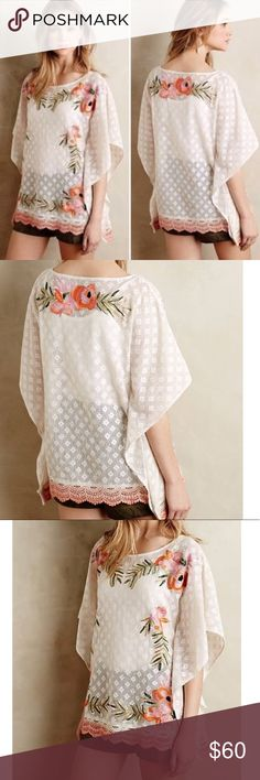 "[Akemi + Kin] M Anthro Augustine Stitched Poncho Akemi + Kin Women's White Augustine Stitched Poncho No signs of wear Measures approx laying flat: 22"" Pit to pit 27"" long Size M Anthropologie Tops"
