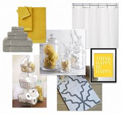 Bathroom Yellow And Gray bathroom makeover. love the yellow and gray combo and the