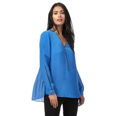 From our exclusive Star by Julien Macdonald collection, this shirt will update an off-duty capsule with feminine appeal. Secured with a zip fastening, it features a pleated back and contemporary cold shoulders. In a pale blue shade, it will team effortlessly with a pair of leather-look trousers.
