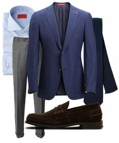Blue and grey. Suit Fashion, Mens Fashion, My Unique Style, Elegant Man, Mens Style Guide, Jackett, Outfit Combinations, Suit And Tie, Well Dressed Men