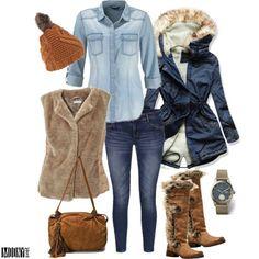 kožušinová-vesta-riflová-košela-skinny-rifle-parka-džínsová-vysoké-čižmy-strapce-hnedá-čiapka