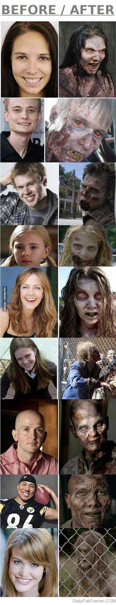 Before/After: Make-up of The Walking Dead's Zombies