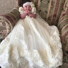 Michealboy Baby Girl Satin Christening Long Gown Ruffled Tulle Pink Rose Dress 0-24 Months