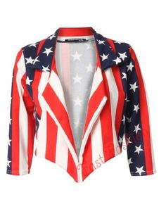 Womens American Flag Stripe 3/4 Sleeved Waterfall Blazer / Size 8-14 - £13.99: Amazon.co.uk: Clothing