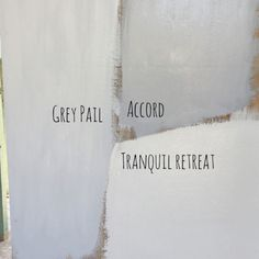 Colour swatches: Dulux Grey Pail (bedrooms) Accord (exterior) Tranquil Retreat (ruled out)
