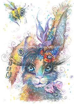 Steampunk Bunny Art print by Sophie Appleton Artist. Bunny Tattoos, Rabbit Tattoos, Bunny Painting, Bunny Art, Animal Paintings, Bird Art, Cute Drawings, Watercolor Art, Original Paintings