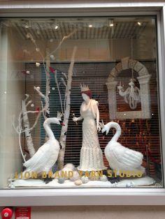Inspiring swan window display