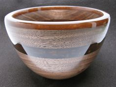 Black Walnut Bowl with Pearlized Brown Resin Rim by colemancrafts, $135.00