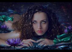 The World of a Mermaid by Wesley-Souza on DeviantArt Mermaid Artwork, Ocean Backgrounds, Digital Art Gallery, Nymph, Portrait Art, Blue Hair, Wonder Woman, Deviantart, Wallpaper