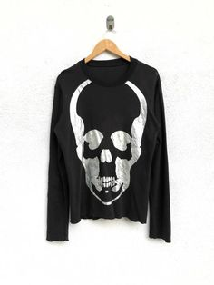 """Lucien Pellat Finet Made In Italy Lucien Pellat Finet LS Skull Big Logo Armpit 21""""x27"""" Size s - Long Sleeve T-Shirts for Sale - Grailed"""