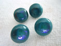 Fused Glass Art Buttons 1000 Fathoms teal turquoise by SeaAirArts, $31.00
