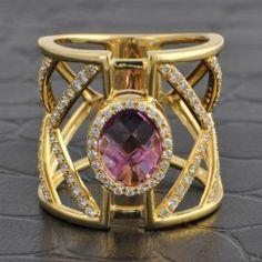 Wide+Geometric+Amethyst+and+Diamond+Ring++$2,299.00