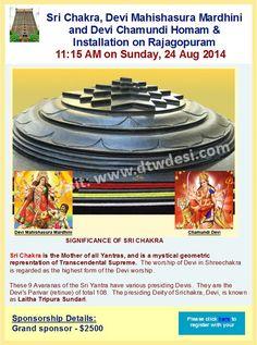 Sri Chakra, Devi Mahishasura Mardhini and Devi Chamundi Homam & Installation on Rajagopuram Sanskrit Mantra, Sri Yantra, Durga, Worship, Chakra, Events, Chakras