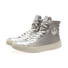 Women's Po-Zu x Star Wars Resistance silver limited edition sneakers ⭐️The Kessel Runway ⭐️ Star Wars fashion ⭐️ Geek Fashion ⭐️ Star Wars Style ⭐️ Geek Chic ⭐️ Geek Fashion, Star Fashion, Jedi Outfit, Mode Geek, Star Wars Shoes, Silver Boots, Geek Jewelry, Jewellery, Star Wars Outfits