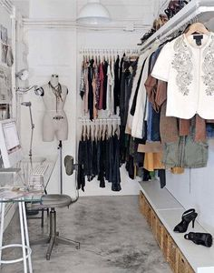 Meira....great idea to have some matching, hidden bins for storage of seldom used items like sandals, clutches, tank tops etc