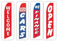 Used Cars Flag Windless Swooper 4 Lot Set Auto We Finance Welcome Open Red Blue #CarLotPromotions