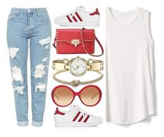 """Start It"" by jomashop ❤ liked on Polyvore featuring Topshop, adidas, Anne Klein, Gap, Valentino, Michael Kors, white and red"
