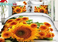 Flourishing Sunflower & Daisy Print 3D Duvet Cover Sets #sunflowerbedding #floralbedding #3dbedding