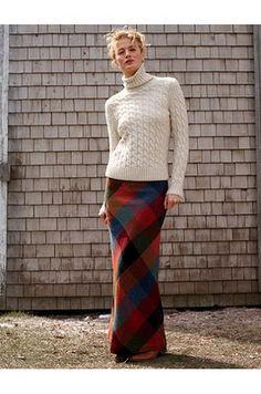LL Bean. Plaid maxi skirt + wool sweater. Looks cozy.