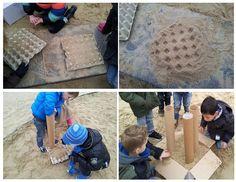 * Grote kartonnen kokers en eierdozen mee in de zandbak. De kinderen gaan helemaal op in het vullen, gieten, afdrukken, strooien, overhevelen en bouwen!