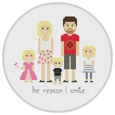 Personalized family 5 characters PDF Cross Stitch by Xrestyk