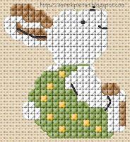 Cross-stitch Hase rabbit  (MB) aMINT A fejemből kipattan...: Zöld nadrágos nyuszi