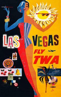 Viva Las Vegas! Put the Las Vegas Strip on your wall. This vintage Las Vegas travel poster was in circulation circa 1960. Las Vegas -- Fly TWA.