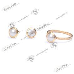Set cu inel si cercei din argint 925 placat cu aur si hotfix pearl swarovski.  #bijuterii #swarovski #swarovskicrystals #argint #simoshop Aur, Swarovski, Pearl Earrings, Pearls, Jewelry, Pearl Studs, Jewlery, Jewerly, Beads