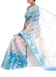 Off White And Blue Silk Cotton Jamdani Saree