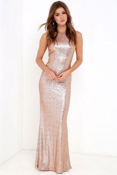 Slink and Wink Matte Rose Gold Sequin Maxi Dress ab0d9b404b28