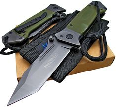 Amazon.com : Tactical Spring Assisted Opening Knife: OD Green G-10 Handles - Razor Sharp Tanto Blade - Every Day Carry - Includes Landyard and Heavy Duty Cordura Sheath. Bundle - 2 items: 1 knife and 1 sheath : Sports & Outdoors