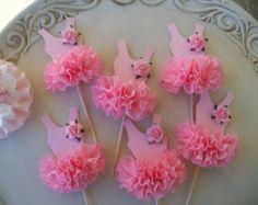 Cumpleaños decoración bailarina Tutu Cupcake Toppers conjunto de seis la fiesta de cumpleaños