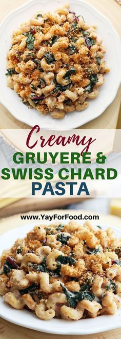 Creamy Gruyere and Swiss Chard Pasta with Toasted Panko Breadcrumbs - Comfort food alert! Check out this delicious savoury pasta dish featuring quick sautéed Swiss chard, homemade cheese sauce, and crunchy Panko breadcrumbs. #pasta | #swisschard | #dinner | #panko | #cheese | #fastrecipes | #easyrecipes |#comfortfood | #vegetarianrecipes