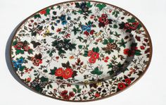 Vintage Metal Tray Floral Pattern Platter 1970s by GoadingTheMuse