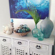 """95 Likes, 17 Comments - Sarah Payne QLD (@sarahlpayne) on Instagram: """"Good morning.....IT'S FRIDAY! Yay! #coastaldecor #blue #aqua #white #home #coastalvintage #glass…"""""""