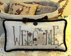 Homespun Welcome spring Sheep Cross Stitch, Cross Stitch Sampler Patterns, Small Cross Stitch, Cross Stitch Pillow, Cross Stitch Finishing, Cross Stitch Needles, Cross Stitch Alphabet, Cross Stitch Samplers, Hand Embroidery Patterns