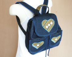 Dark Denim Blue Rucksack with Appliqued Heart and Button Design with Jean Type Outer Pockets by EverSewNice on Etsy