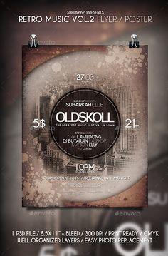 Retro Music Flyer / Poster Template #design Download: http://graphicriver.net/item/retro-music-flyer-poster-vol-2/12571151?ref=ksioks
