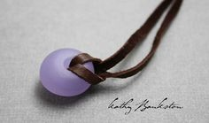 Purple Frosted Lampwork Bead Necklace With Sterling by KMBankston