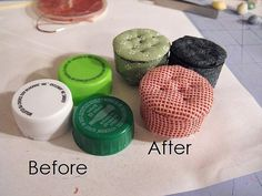 Bottle Cap Footstools Photo Tutorial - One of these may make it into a fairy garden this summer :)                                                                                                                                                     More