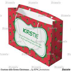 Custom-able Green Christmas Stocking Large Gift Bag