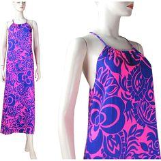 Vintage 1970's Sears Hawaiian Fashions Halter Sundress