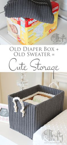 Boxes from Old Boxes and Sweaters Cute storage boxes made from old boxes and sweaters!Cute storage boxes made from old boxes and sweaters! Cute Storage Boxes, Storage Bins, Storage Ideas, Diaper Storage, Smart Storage, Storage Containers, Storage Solutions, Diy Hanging Shelves, Diy Wall Shelves