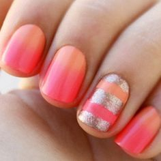Pink and Peach nails