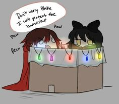 Boxes I don't know what this is supposed to be but it's cute Rwby Anime, Rwby Fanart, Yandere, Red Like Roses, White Roses, Rwby Blake, Rwby Bumblebee, Rwby Memes, Rwby Red